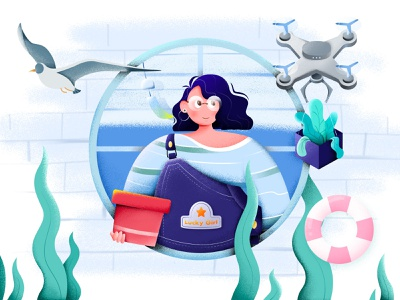 Girl by the window drone pink blue sea window girl lucky colorful illustration