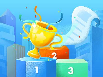 List illustration banner leaderboard building houese trophy paper blue illustration list