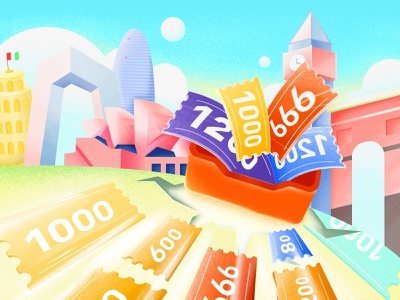 Lots of coupons rupture earth promotion tourism building colour icon illustration colorful design