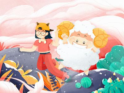 Aries girl pink constellation design illustration colorful