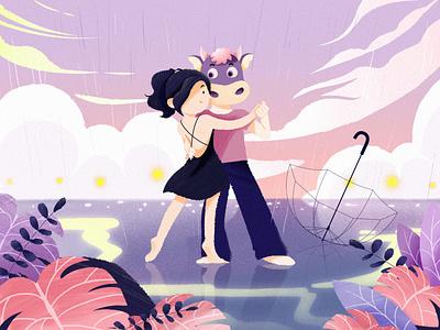 Taurus pink dancing girl boy logo colorful illustration