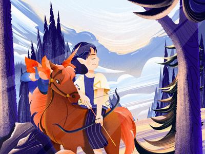 Sagittarius colorful graphic design sunlight forest girl illustration design sagittarius