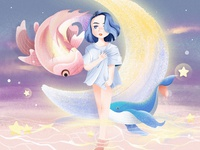 Pisces star moonlight sea moon girl whale fish pisces
