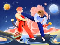 Capricornus boy girl protect blue and yellow red blue taekwondo icon design colorful illustration