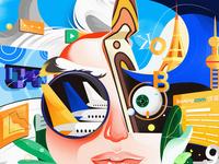 Predict 2020 big face portrait predict colorful design logo data travel plane girl ui product illustration
