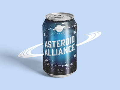 Cosmic Brewery - Asteroid Alliance blue design can alliance asteroid gradient blueberry ale pale stars alcohol brand brewery cosmic space beer craft beer craft