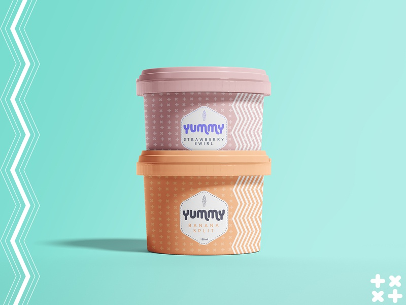 Yummy Ice Cream banana strawberry lines company dribbbleweeklywarmup yummy packaging ice cream design pattern shapes logo typogaphy business packaging design labeldesign icecream branding package design illustrator