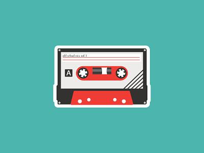 Old School Tape cassettes contest sticker mule color art designs design playoffs vintage classic stickermule playoff vector illustraion flat cassette tape cassette