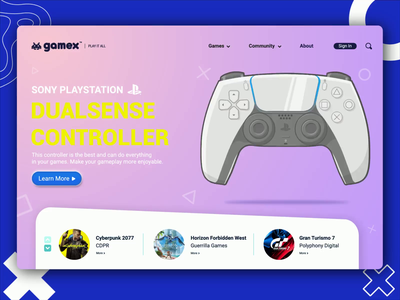 Gamex | Landing Page Concept vector illustration concept design website design gaming website game ui controller ps5 animation gaming logo gaming landing page design landing page webdesign uiux uidesign web design website