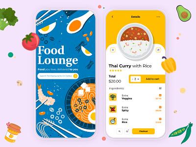 Food Lounge App Design food logo illustration art food illustration ui designs art direction mobile ui uiux food and drink typography logo ui design app food delivery ux graphic design branding ui design vector illustration