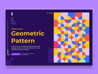 Geometric Pattern website pattern design dark mode dark blue dark ui interface shape illustraion typogaphy logo ui design ui ux typography pattern design graphic design geometric art shapes geometic