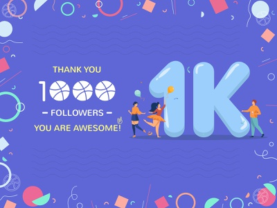 1000 Followers happy graphic design following ball thankyou animation color follower celebration clean character thanks 1000 design followers 1k typogaphy illustration fans thank you