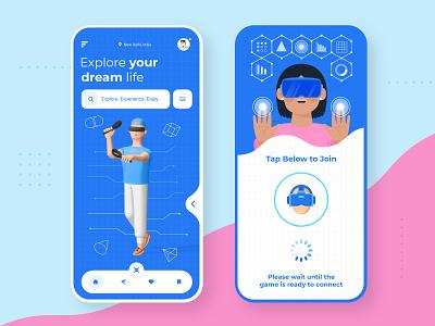 Virtual Reality Game App 3d art icon mobile app design app design app mobile app mobile ui logo uidesign game vr design grid blueprint typogaphy ui design 3d character illustration ui  ux ui vr