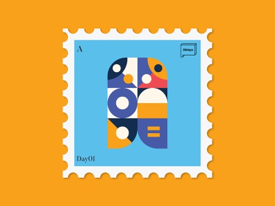 36daysoftype - A stamp design vector illustration stamp artwork instagram letters illustrations art direction pattern design 36daysoftype08 36daysoftype type art type typography illustraion graphic design shapes pattern color illustration