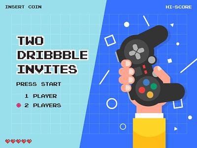 2 Dribbble Invites design website web gaming players controller dribbble invite invites invite illustration vector color logo graphic design