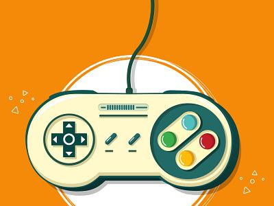 SNES Controller illustrator video game remote control art gamers gaming snes super nintendo vintage mario color design controllers illustration design vector illustration gamepad controller