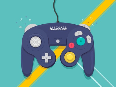 Nintendo Gamecube icon arcade nintendo nintendo switch gamers video game shapes remote control console gamepad vintage gaming color vector gamecube design illustraion adobe illustrator controller