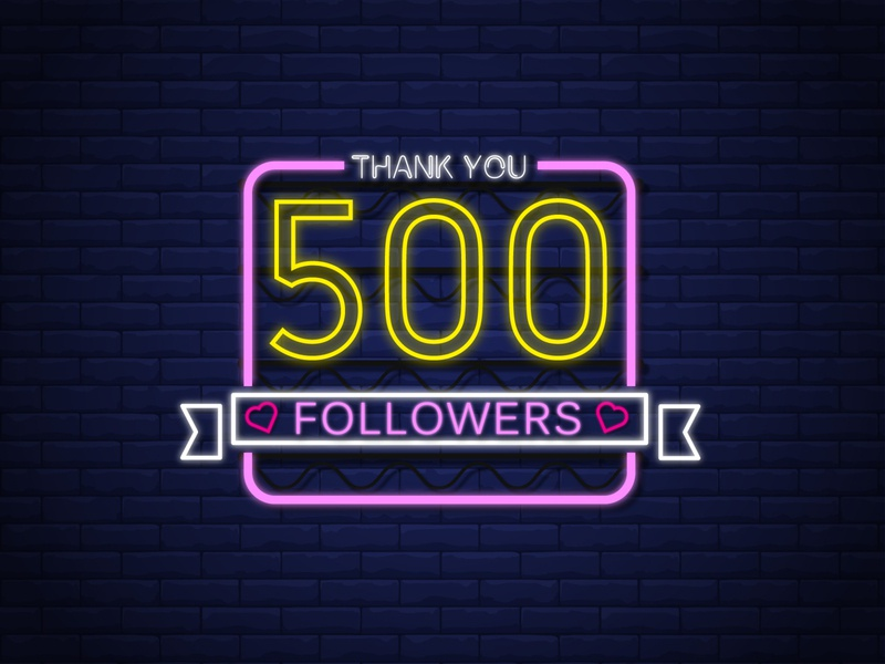 500 Followers | Thank you wire type art shots following graphic design artwork colorful followers thank you dribbble neon lights neon art vector illustration typography lights designer brick typeface
