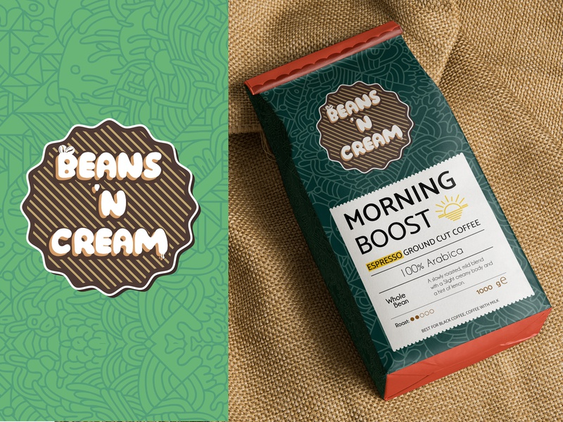 Beans 'n Cream | Concept 2 | Weekly Warm-Up coffee bean designerachit classic vintage logo design illustration label design packaging weeklywarmup illustraion typogaphy branding graphicdesign color patterns bean weekly warm-up coffee