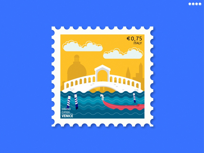 Grand Canal (Venice) Stamp | Dribbble Weekly Warm-Up minimal city of canals texture water travel stamp design canal art graphic design bridge goldola logo vector vector stamp adobe illustrator illustraion weekly warm-up italy venice stamp