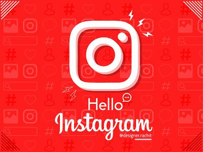 Hello Instagram on Dribbble 3d lineart shapes typogaphy logo red adobe illustrator hashtag searchbar graphicdesign picture image heart designerachit pattern follower instagram post instagram illustration vector