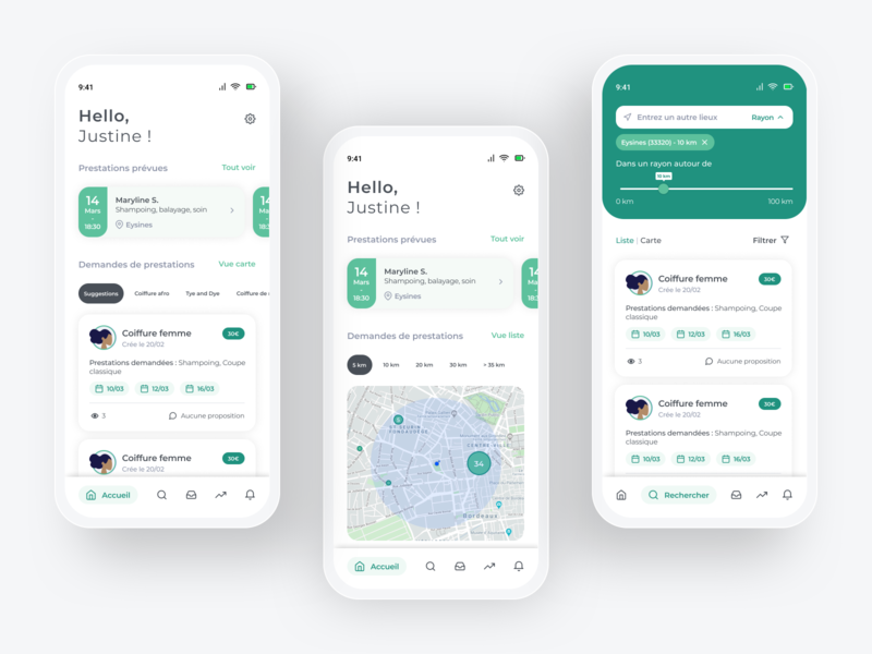 Hairdresser dashboard mobile app haircut appointment ui ux ux ui concept mobile design mobile app mobile search map app dashboard admin hairdresser