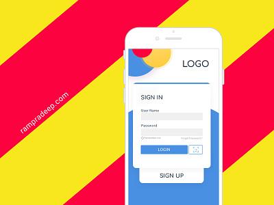 Mobile app Login Page face recognition ux flat color ui design flat sign in login page login mobile app mobile face id