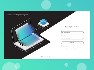 Login Page black theme black  white login page sign in page flat  design learning management system learning app learning login design sign in login