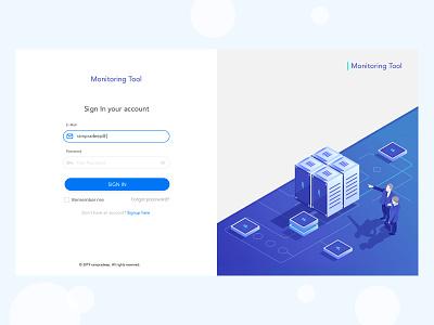 Login Page - Server Monitoring Tool server monitoring server monitoring tool monitoring login page sign in page flat  design learning login design sign in login