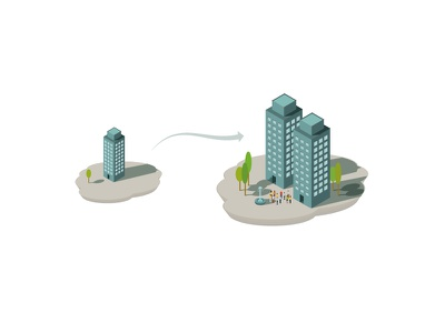 Scaling trees infographics simple tiny elements buildings development vector ai towers scaling office