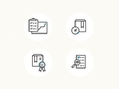Icons productivity time to market quality visibility icons vector chart box product vision label