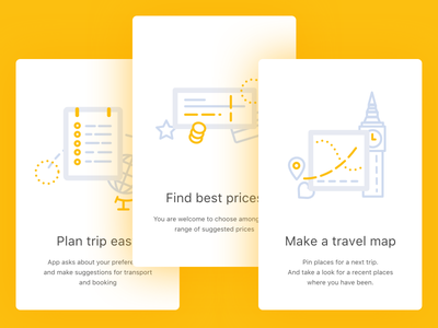 Onboarding ios app cards illustrations icons ui travel onboarding