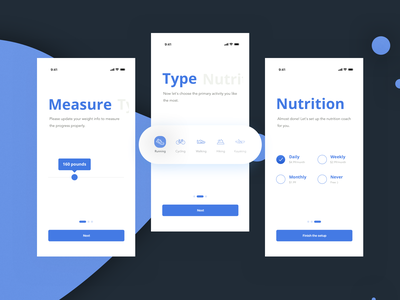 Onboarding. Fitness app artificial intelligence ai suggestions coach fitness concept 2019 ux design uxdesign uidesign interface application wizard onboarding stepper flow sketch uiux ui