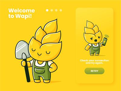 Wapi app design (part 1) character mobile app design app development ux design mobile app agritech mascotte ux design logo ui vectors illustration