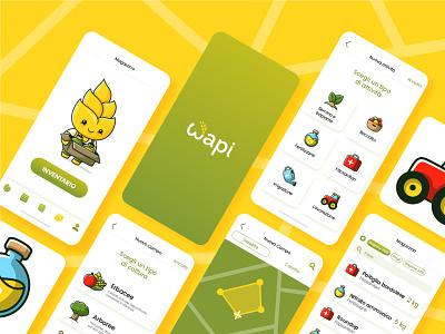 Wapi app design (part 2) mobile agritech character mascotte screen ux design app development mobile app design app icon ux vector branding design ui vectors cute illustration