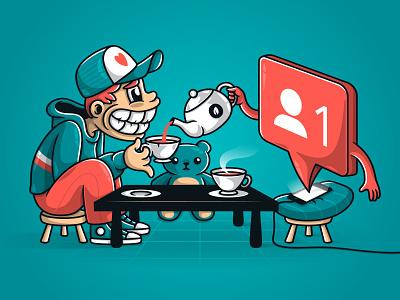 Imaginary friends funny minimalism brand social networks humor colors design digital art vector adobe illustrator illustrator cc illustrator