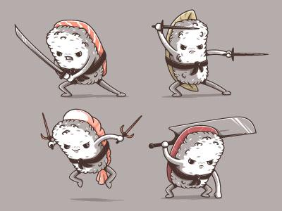 Samurai sushi samurai yummy fresh colors funny design illustration vectors cute food sushi