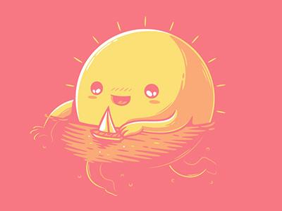 Summer mood clever sun summer beach sea humor funny cute cool illustration art vectors