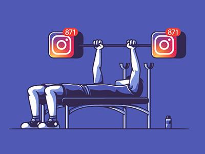 Social workout funny surrealism social humor vectors illustration colombo elia gebe