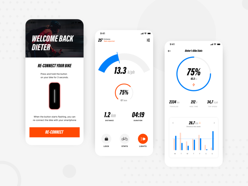 Smart Electric Bicycle App charts travel sport ux mobile uiux ui app bicycle bicycle app bike smart bike smart
