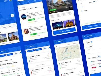 Circular Journey App user experience journey train indian railways travel app flat design ui ux app