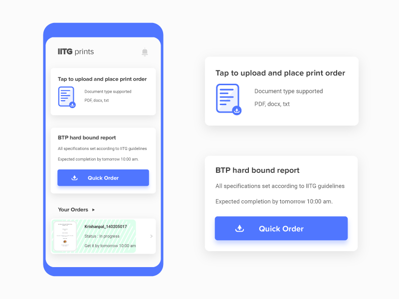 Print orders taking app material design card illustration design daily ui user experience print ui app education layout ux