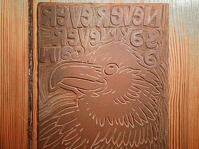 Linocut Raven