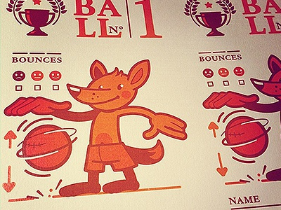 Postcard _ _ _ BOUNCES count  print postcard ball dribble bounce character fox count a5