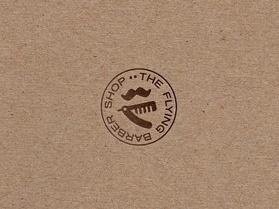The Flying Barber Shop coiffeur moustache barber stamp