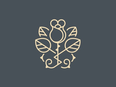 Rose Logo Brand attract hedge floral crest snow-white thorn rose