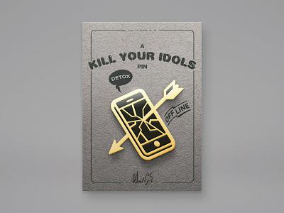 Idol Pin digital phone glass display spider app arrow detox pin gold