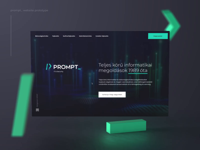 /> prompt _ landing prototype element3d 3d develop information technology coding programming scroll animation dark dark ui green logo security principle app principle prototype prompt