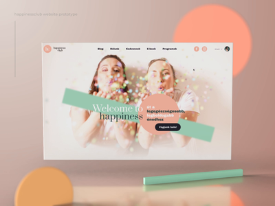 Happiness Club pastel element 3d after effects landing page 3d health food better lifecoach soul mind fitness wellness coaching club happiness logo branding animation ui
