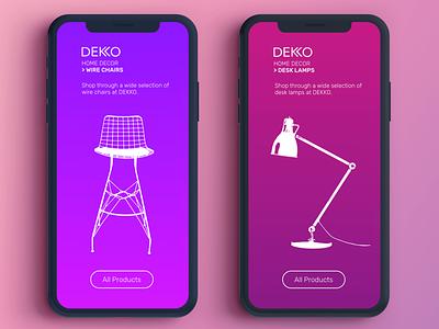 Dekko UI mobile app branding homedecor ux ui